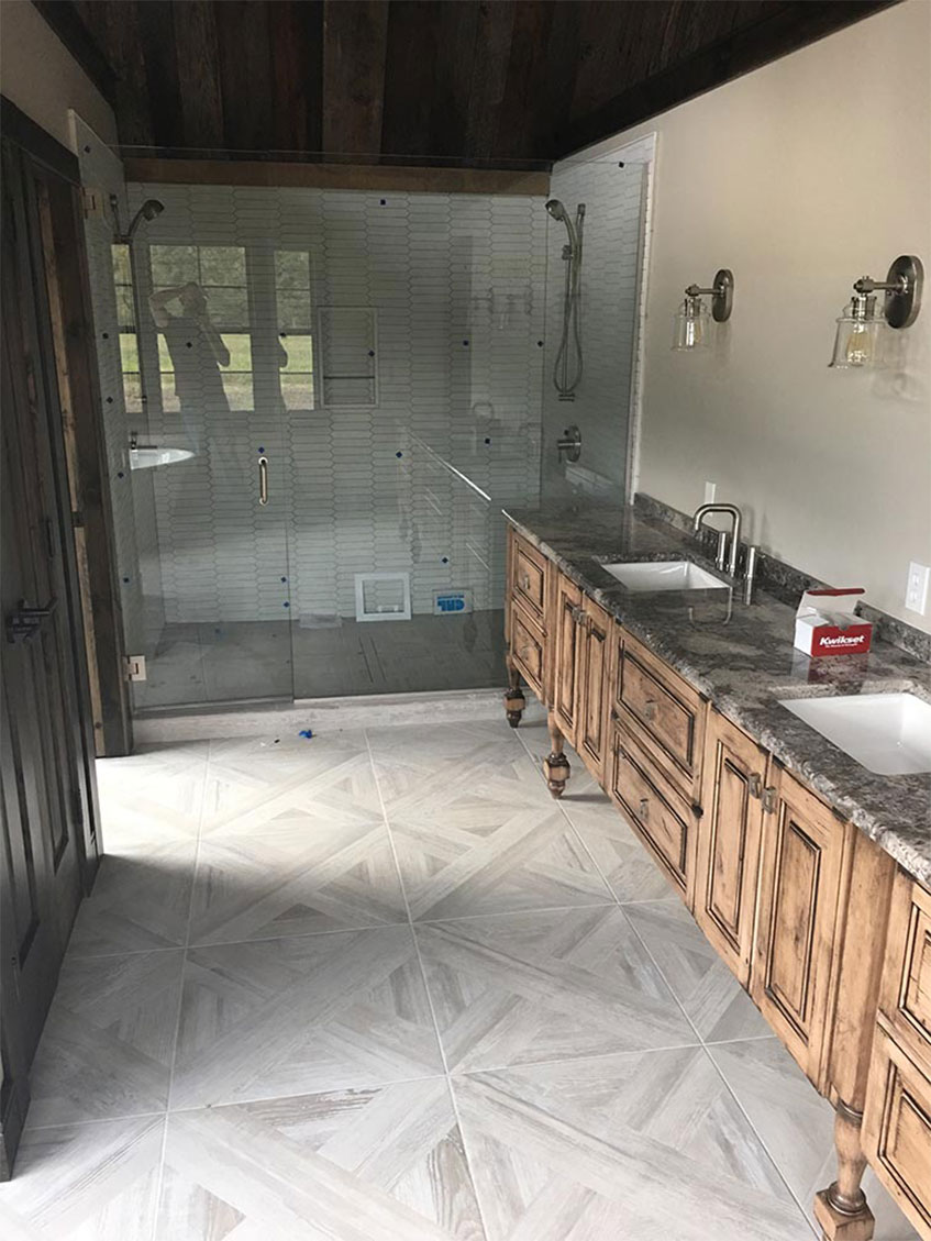 Large bathroom with glass door shower